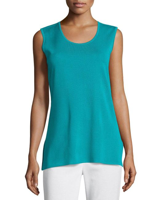 Misook - Blue Solid Knit Tank - Lyst