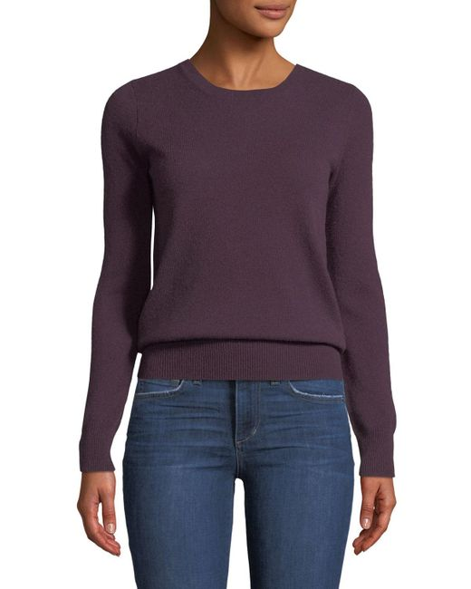 Neiman Marcus - Red Cashmere Crewneck Sweater - Lyst