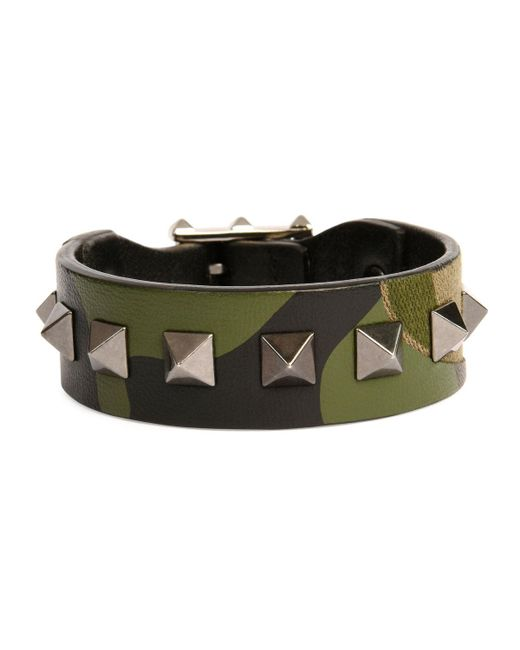 Valentino - Green Men's Rockstud Camo Leather Bracelet for Men - Lyst