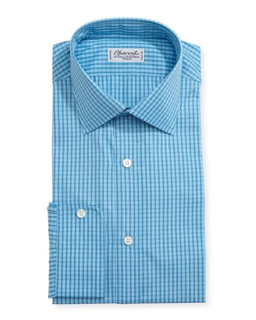 Charvet | Blue Mini-check Cotton Dress Shirt for Men | Lyst