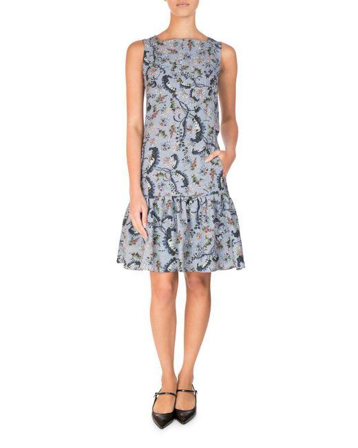 Erdem | Blue Paisley Vine Matelasse Sleeveless Flounce Dress | Lyst