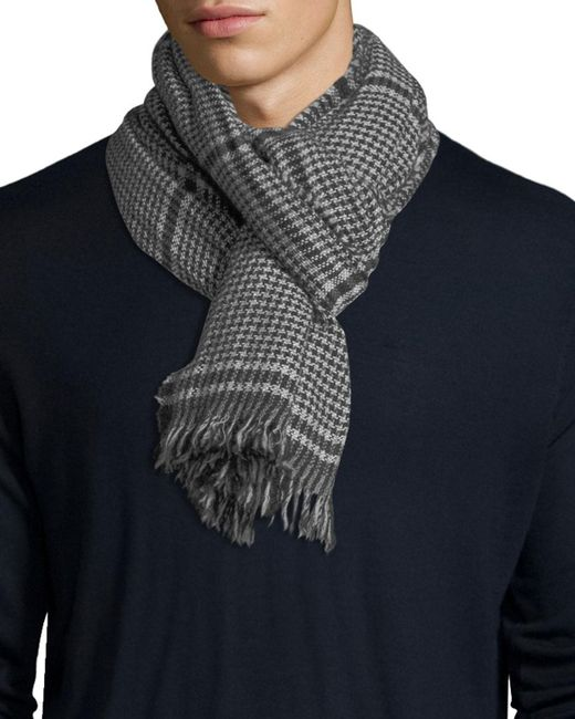 Begg & Co - Gray Kishorn Washed Lagg Houndstooth Cashmere Scarf for Men - Lyst
