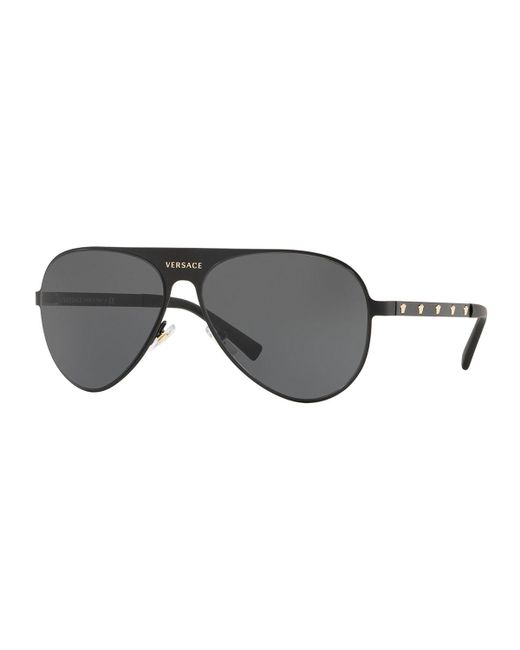 Versace - Black Monochromatic Aviator Sunglasses - Lyst