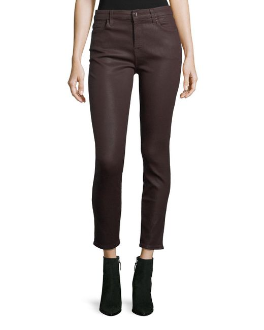 7 For All Mankind - Black Coated Skinny Ankle Jeans - Lyst