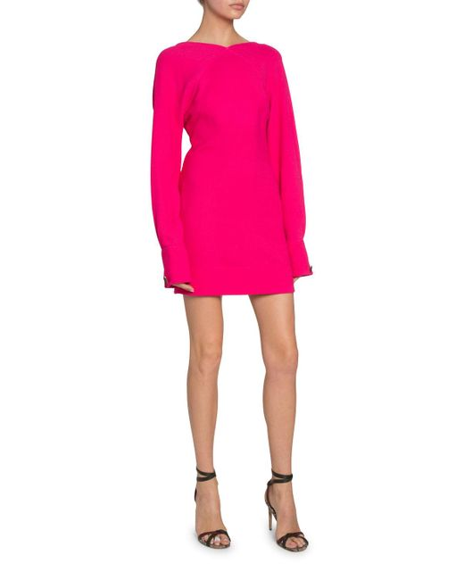 Victoria Beckham Pink Open-back Irregular Crepe Dress