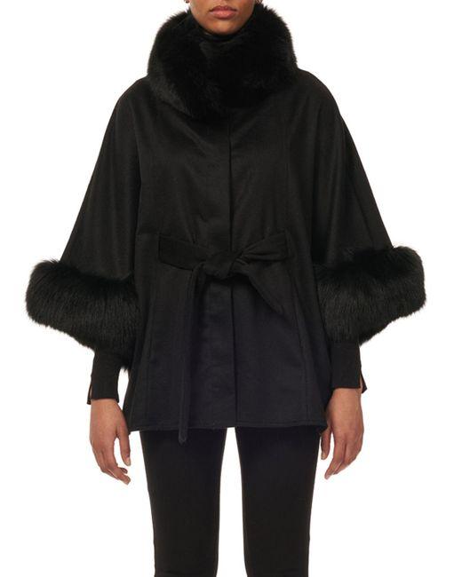 Gorski - Black Cashmere Belted Cape W/ Fur Collar & Cuffs - Lyst