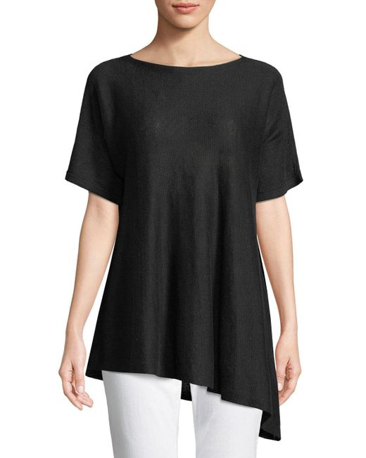 Eileen Fisher - Black Short-sleeve Asymmetric Linen Top - Lyst