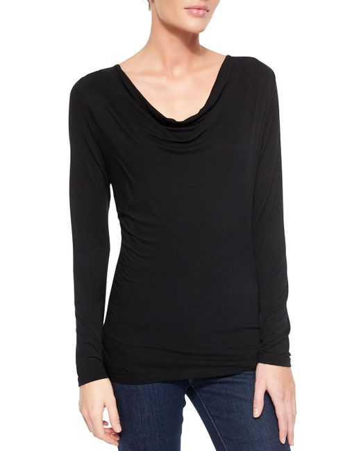 Neiman Marcus - Black Soft Touch Draped Long-sleeve Top - Lyst