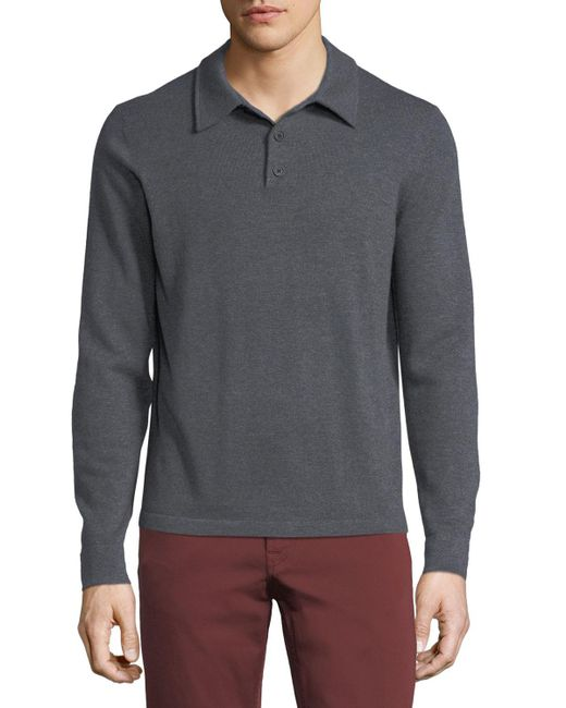 Neiman Marcus - Gray Cashmere Long-sleeve Polo Sweater for Men - Lyst