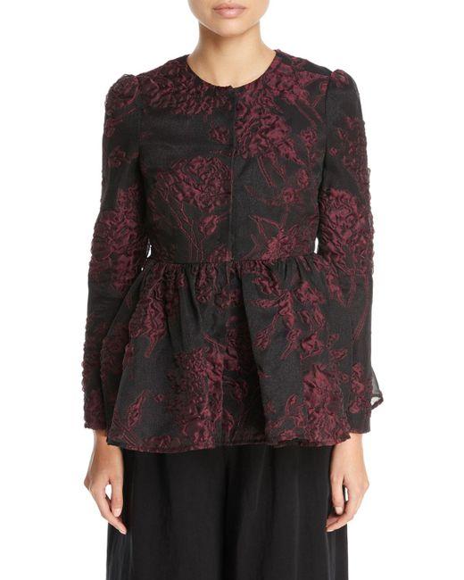 Co. - Black Floral-jacquard Llarless Peplum Jacket - Lyst