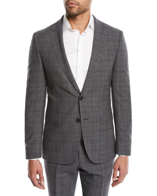 BOSS - Gray Men's Nestro Check Two-piece Wool Suit for Men - Lyst