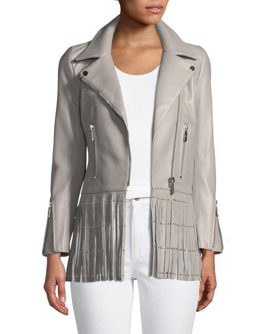 Nour Hammour - Gray Saint Lambskin Leather Moto Jacket With Studded Fringe Hem - Lyst