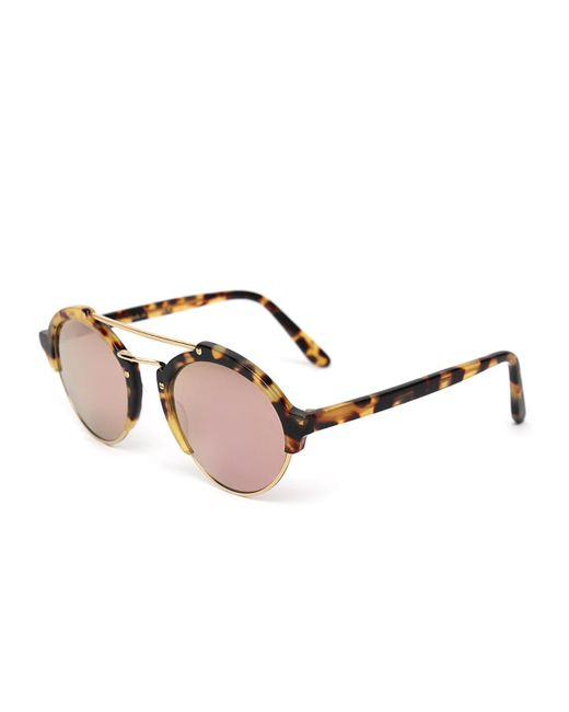 Illesteva | Brown Milan Ii Mirrored Round Sunglasses | Lyst
