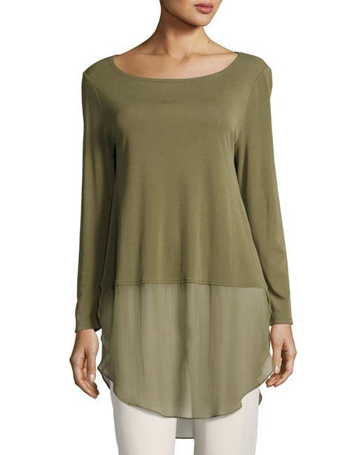 Eileen Fisher - Green Long-sleeve Silk Jersey Tunic W/ Sheer Layer - Lyst