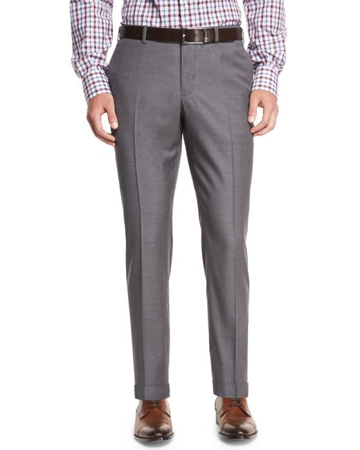 Isaia   Gray Twill Flat-front Trousers for Men   Lyst
