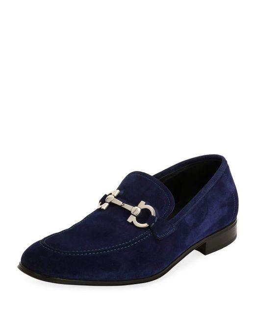 Ferragamo - Blue Flori 2 Suede Gancini Loafer for Men - Lyst