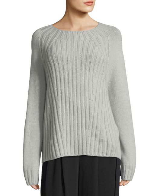 Vince - Gray Raglan Ribbed Crewneck Wool-cashmere Pullover Sweater - Lyst