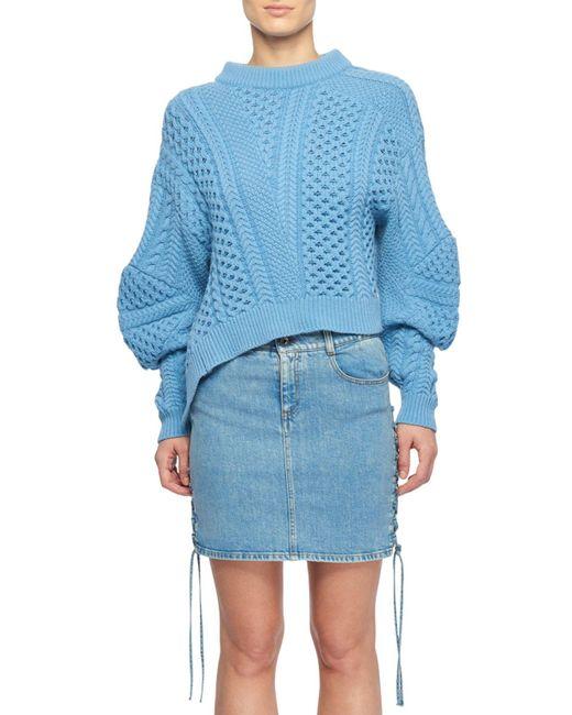 Stella McCartney - Blue Puff-sleeve Alpaca-blend Cable-knit Sweater - Lyst