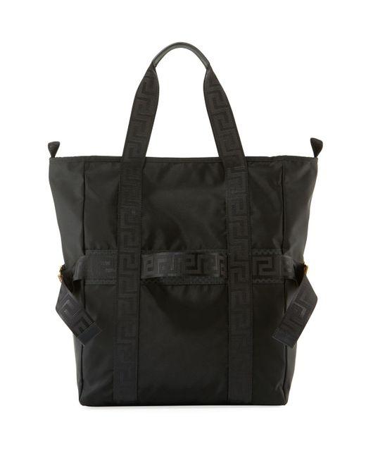 9164ac317fcf Lyst - Versace Men s Greek Chain Nylon Tote Bag in Black for Men