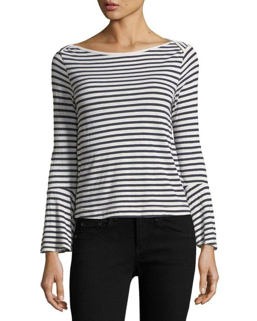 Splendid | Multicolor French Stripe Bell-sleeve Top | Lyst