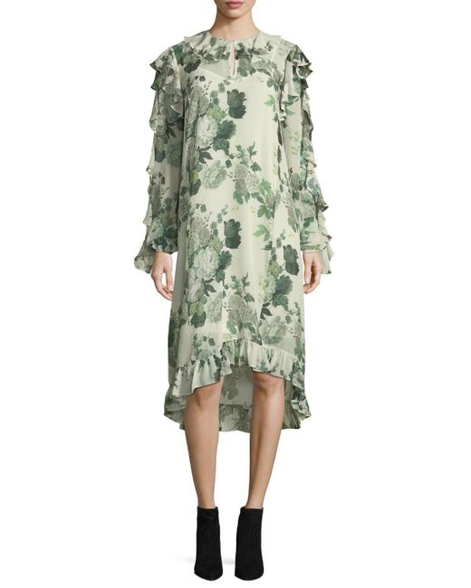 Robert Rodriguez   Green Ruffled Low-high Hem Midi Dress   Lyst