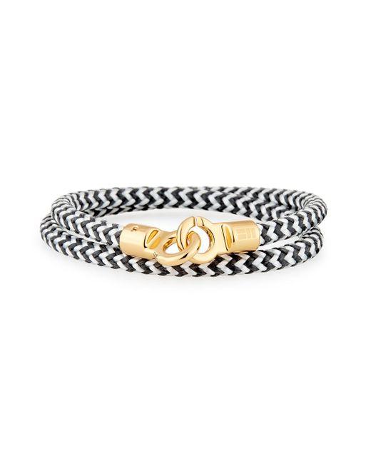 Brace Humanity - Metallic Men's Double Tour Braided Wrap Bracelet Black/white/golden for Men - Lyst