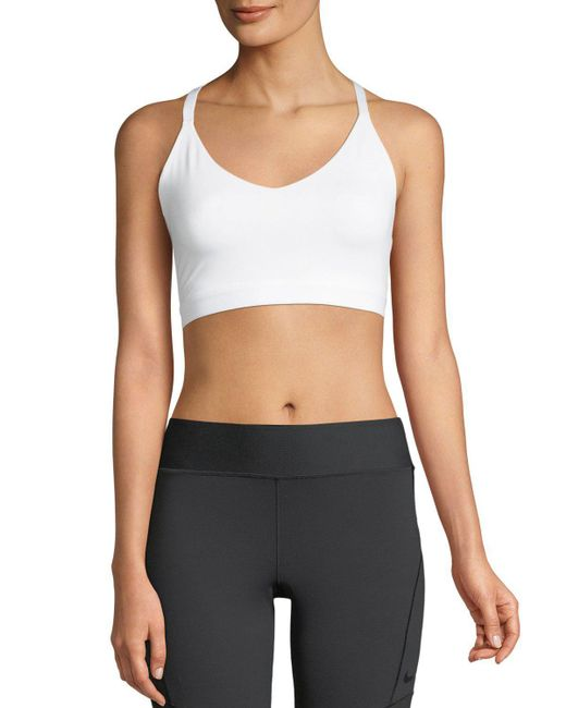 d89ab49f6a8b0 Lyst - Nike Indy Light-support Strappy Sports Bra in White
