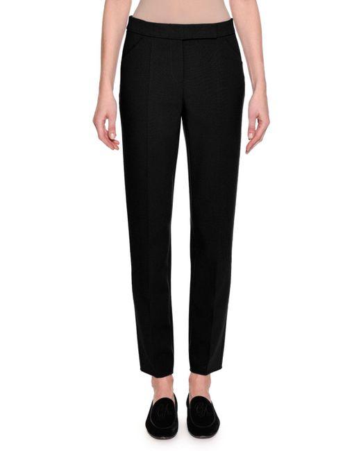 Giorgio Armani - Black Stretch Wool Slim-leg Pants - Lyst