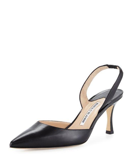 Manolo Blahnik - Black Carolyne Leather Mid-heel Halter Pump - Lyst