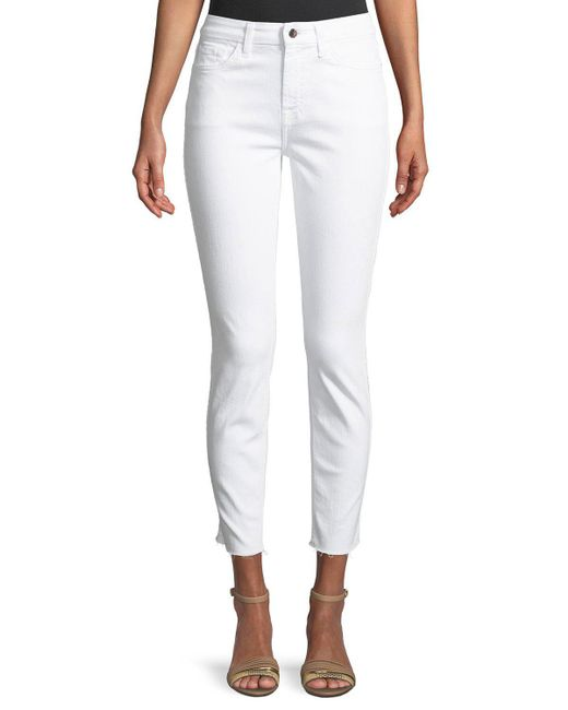 7 For All Mankind - White Ankle Skinny Jeans W/ Rose Golden Back Zippers - Lyst