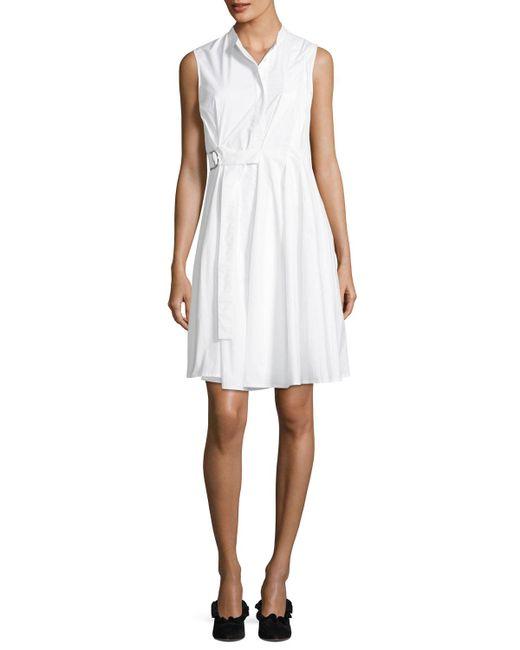 Proenza Schouler - White Sleeveless Side-wrap Pleated Poplin Dress - Lyst