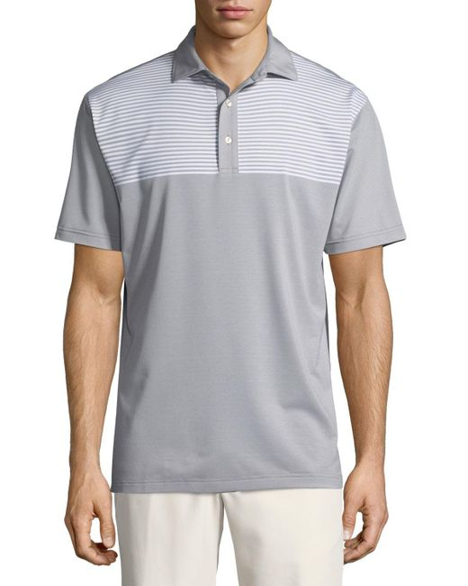 Peter Millar - Gray Oberline Engineered Stripe Polo Shirt for Men - Lyst