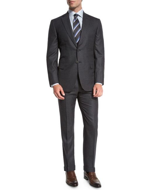 Brioni - Box-check Two-piece Suit Gray for Men - Lyst