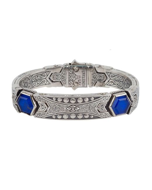 Konstantino | Blue Men's Hephaestus Sterling Silver & Lapis Bracelet | Lyst