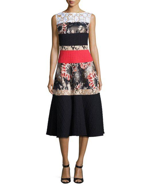 Talbot Runhof | Black Konzert Mixed-fabric Tiered Dress | Lyst