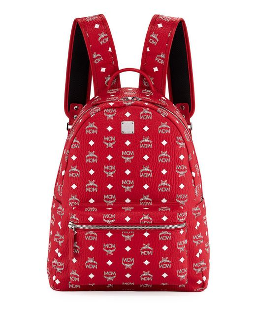 MCM - Red Stark Logo Visetos Backpack for Men - Lyst
