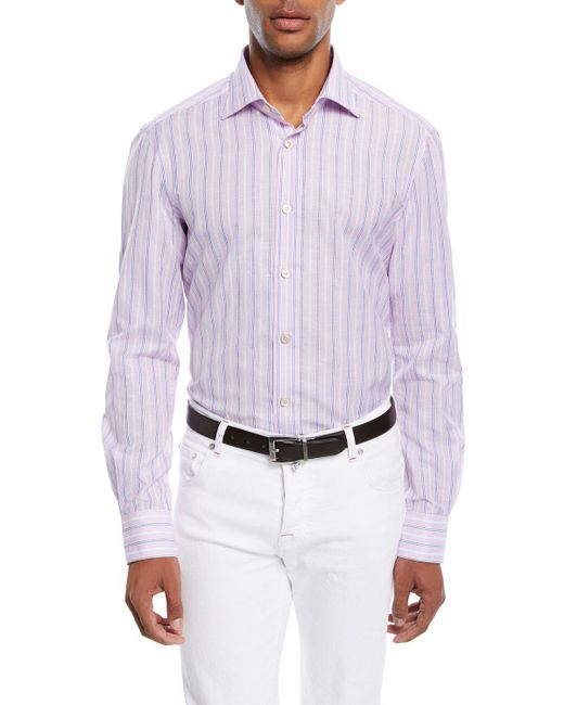 Kiton - Pink Multi-stripe Cotton/linen Sport Shirt for Men - Lyst