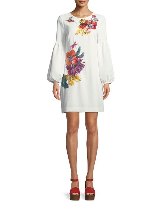 Trina Turk - White Floral Balloon-sleeve Mini Dress - Lyst