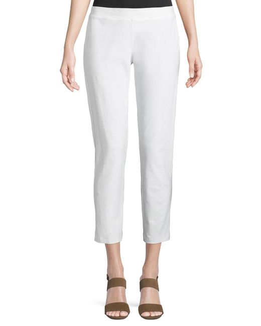 Eileen Fisher - White Washable Stretch-crepe Slim Ankle Pants - Lyst