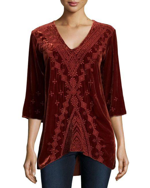 Johnny Was - Brown Shobah 3/4-sleeve Embroidered Velvet Tunic - Lyst