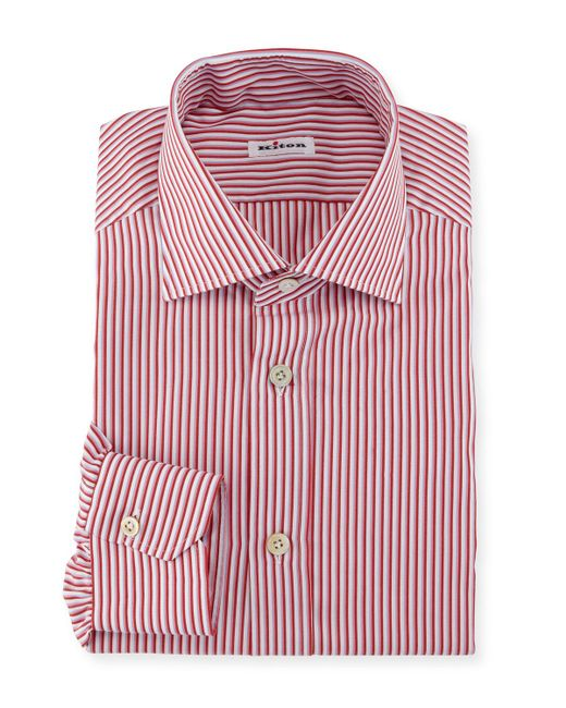 Kiton - Pink Striped Dress Shirt for Men - Lyst