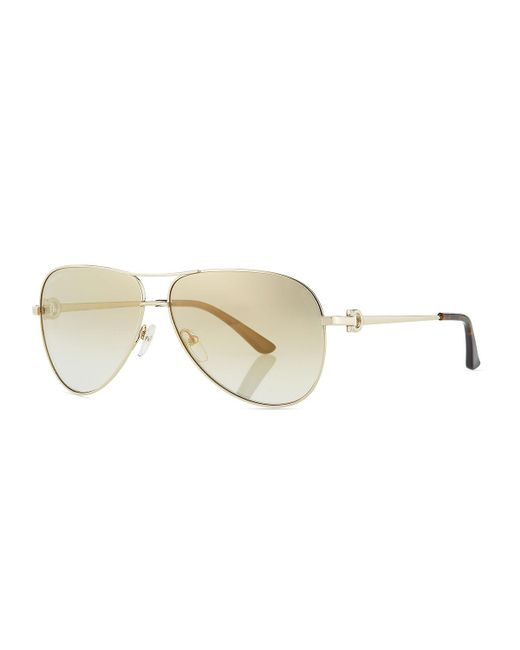 Ferragamo - Metallic Men's Signature Metal Aviator Sunglasses for Men - Lyst