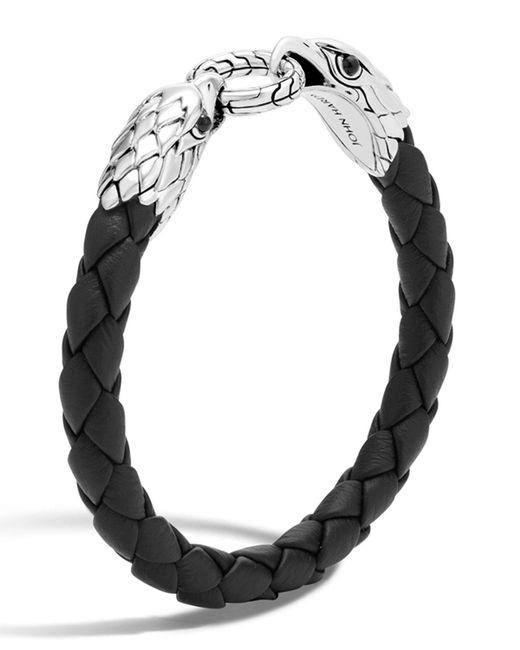 John Hardy - Black Silver Eagle Head Woven Bracelet for Men - Lyst