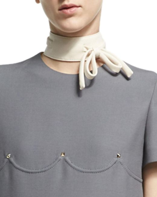 Valentino | White Virgin Wool-silk Bow Collar | Lyst