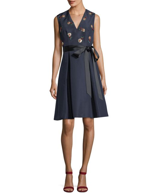 Carolina Herrera - Blue Cherry Embroidered V-neck Fit-and-flare Cocktail Dress - Lyst