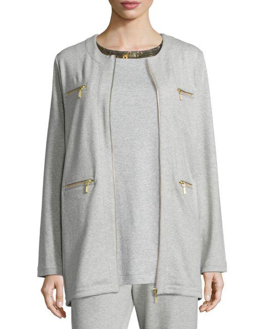 Joan Vass | Gray Four-pocket Cotton Interlock Jacket | Lyst