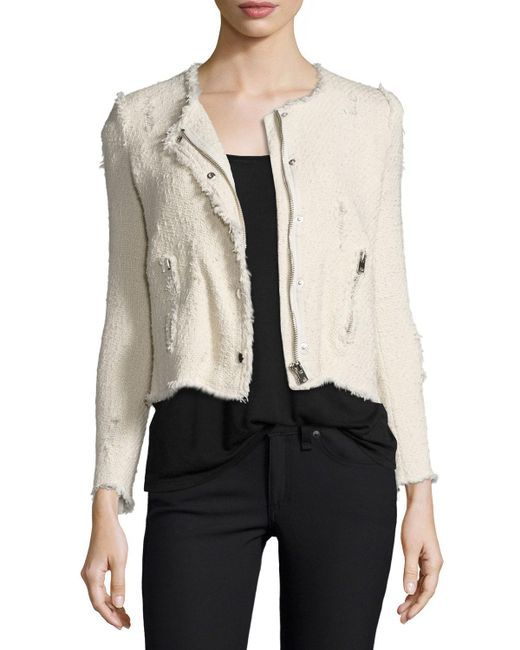 IRO - White Agnette Cropped Boucle Jacket - Lyst