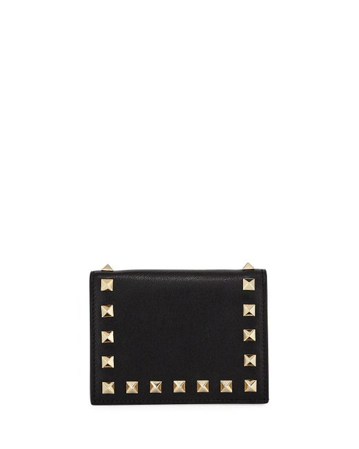 Valentino - Black Rockstud Leather Flap French Wallet - Lyst