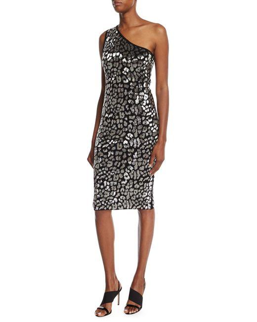 Michael Kors   Black Metallic Leopard-embroidered One-shoulder Dress   Lyst