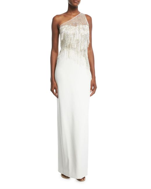 Pamella Roland - White One-shoulder Stretch-crepe Evening Gown With Beaded Fringe - Lyst